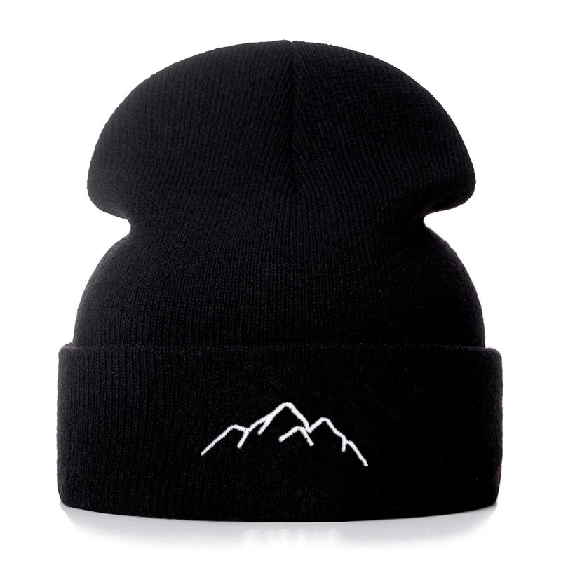 Mountain Range Cotton Embroidery Casual Beanies For Men Women Knitted Winter Hat Solid Hip-hop Skullies Bonnet Unisex Cap
