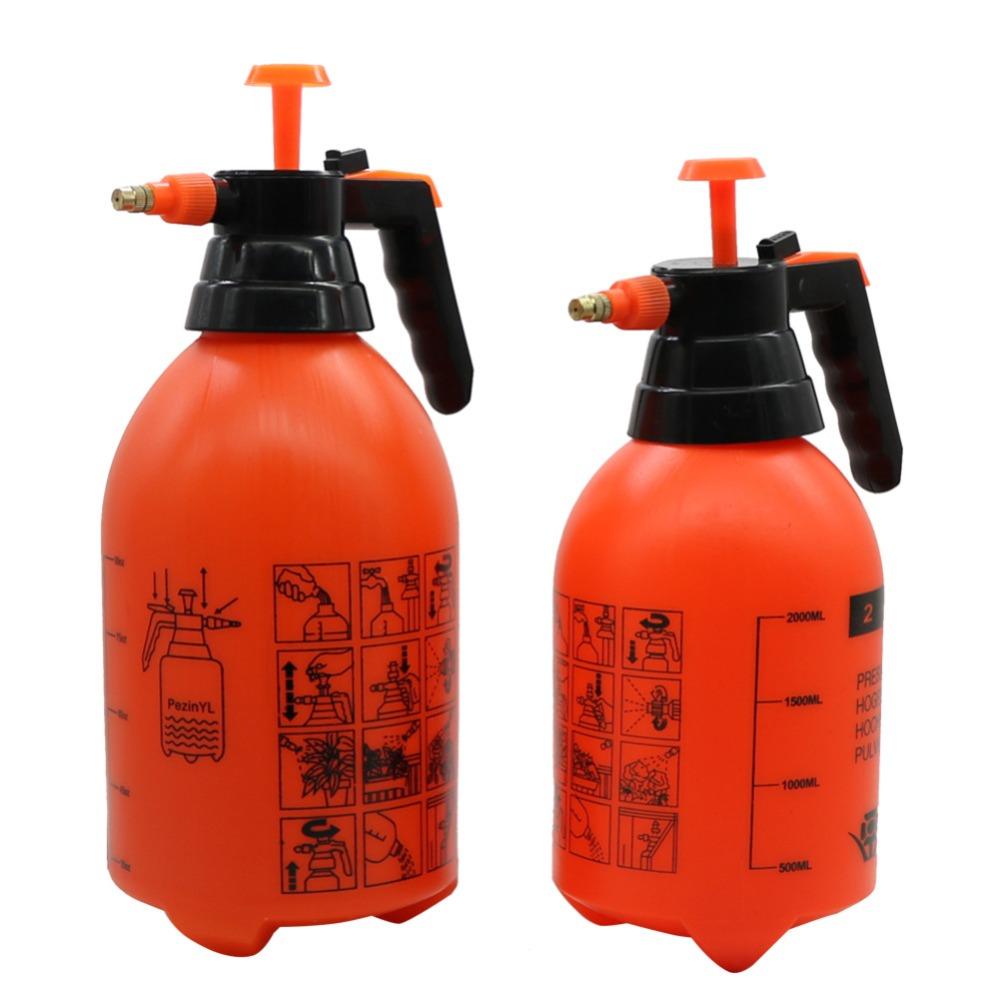 2L/3L Orange Hand Pressure Trigger Sprayer Bottle Adjustable Copper Nozzle Head Manual Air Compression Pump Spray Bottle 1 Pcs