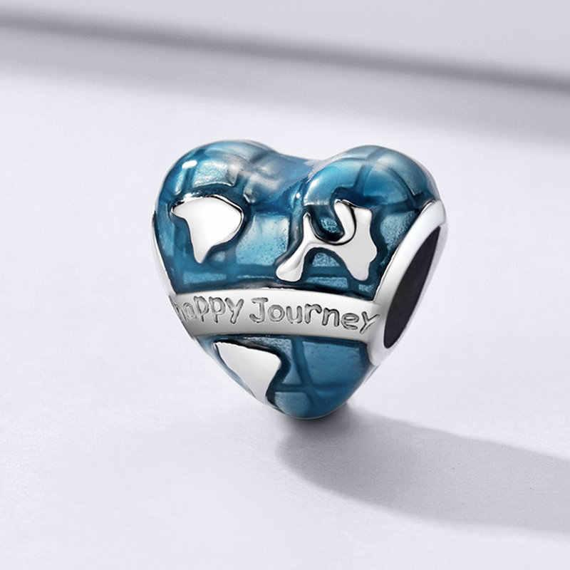 Codemonkey Aarde Charm 925 Sterling Zilver Blauw Emaille Hart-Vorm Aarde Reis Reizen Kralen Voor Memory Charm Armbanden CMC1176