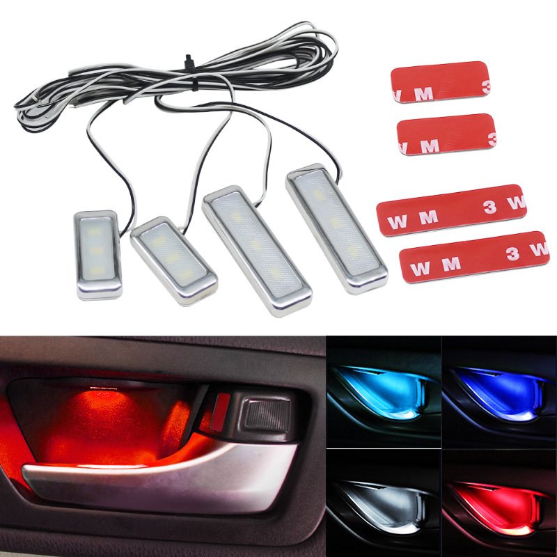 4PCs Set Bowl Handle Armrest Light Car Door Interior Light LED Atmosphere Light Auto Interior Door Light Decorative Lamp