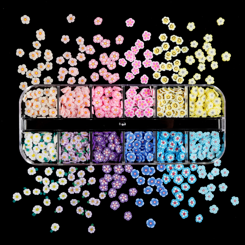 Spring Summer Flowers Nail Glitter Flakes Sequin Clay Slices Colourful Soft Nail Art Paillette Manicure 3D Nail Art Decorations