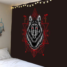 цена на Hot selling explosion models wolf totem print background tapestry wall decoration cloth multiple sizes