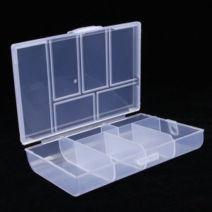 1PC 6 Grids Compartments Plastic Transparent Organizer Jewel Bead Case Cover Container Storage Box for Jewelry Pill Coin Sundry