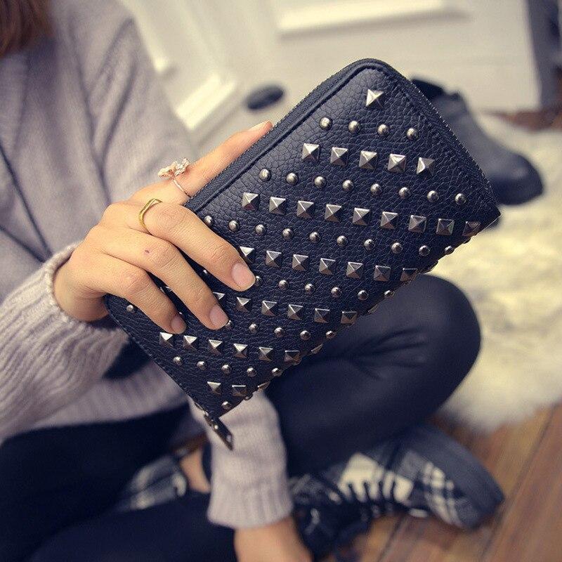 REALPERKY Damen Zipper Beliebte Punk Nieten Halten Mode Frauen Leder Kupplung Brieftasche Lange Feste Karte Halter Geschenk Geld Tasche