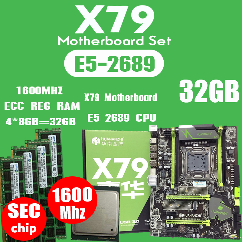 HUANANZHI X79 motherboard LGA2011 ATX combos E5 2689 CPU  4pcs x 8GB = 32GB DDR3 RAM 1600Mhz PC3 12800R  PCI E NVME M.2 SSD-in Motherboards from Computer & Office    1
