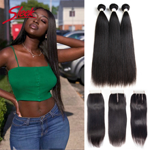 Human-Hair Closure Straight Bundles Peruvian Remy Natural-Color Sleek with Silky Lace