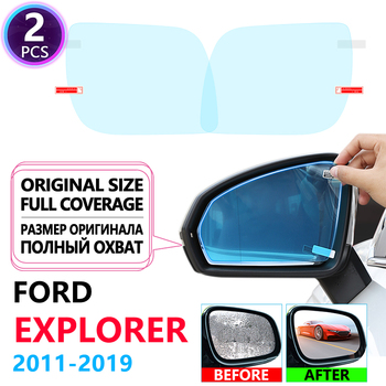 Pełna pokrywa Anti Fog filmy lusterka wsteczne dla Ford Explorer U502 MK5 2011 ~ 2019 samochodów naklejki czyste filmy akcesoria 2014 2016 tanie i dobre opinie Lusterko wsteczne Words Włókno węglowe Klej naklejki Jest dostarczana 4 5inch 1 5inch 4inch Inne 4 6inch rearview sides mirrors films