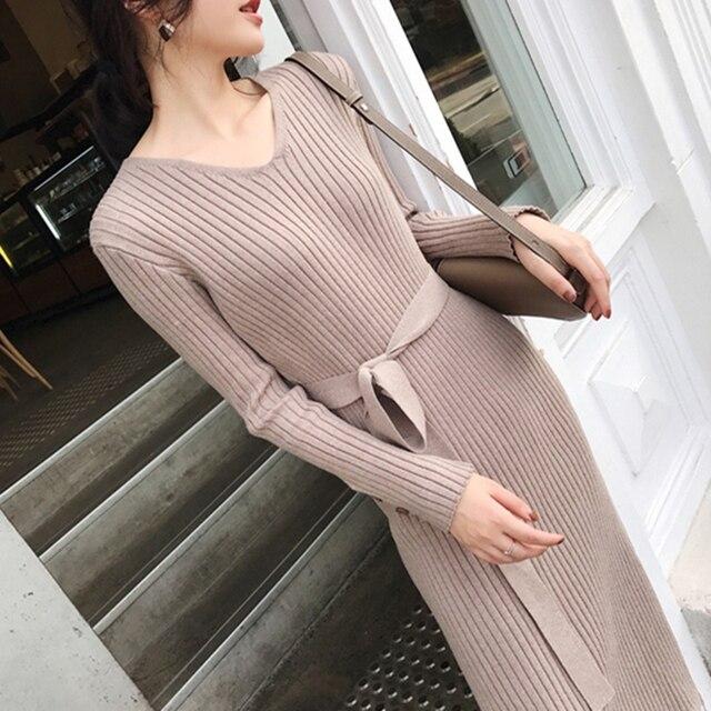 Korean Fashion Sweater Dress Women Knitted Sweaters Dresses Elegant Women High Waist Sweater Dress Plus Size Vestidos De Fiesta 2