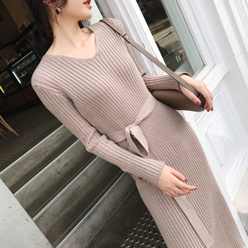 Korean Fashion Sweater Dress Women Knitted Sweaters Dresses Elegant Women High Waist Sweater Dress Plus Size Vestidos De Fiesta 30
