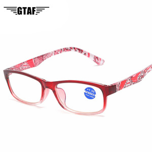 Fashion Transparent Reading Glasses Men and Women Universal Flower Printed Spectacles Anti Blue-ray Reading Glasses +1.0 To 4.0
