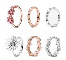 цена Valentine's Day Original 925 Sterling Silver Ring Sparkling Daisy Flower Crown Ring For Women Wedding Party Gift Fashion Jewelry онлайн в 2017 году