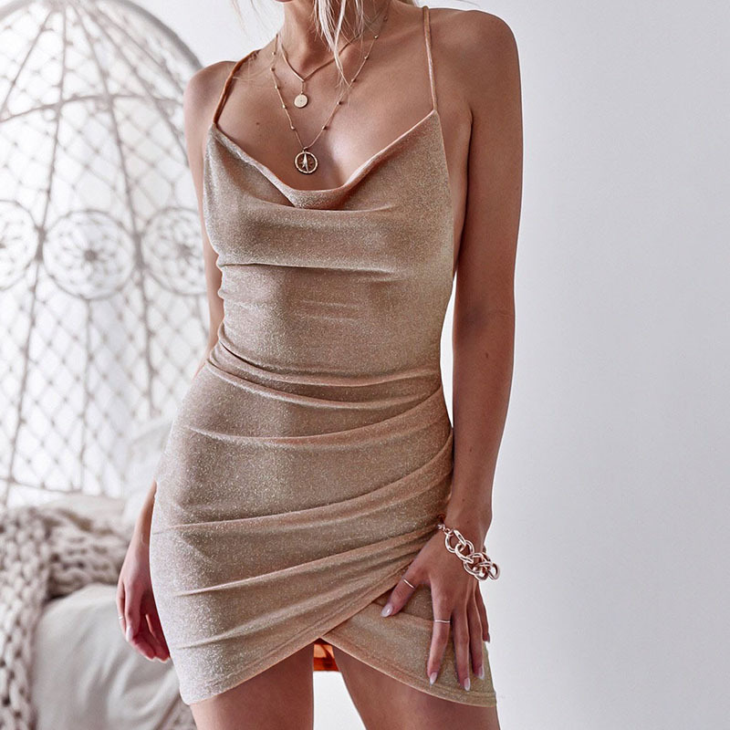 2020 Sexy Backless Sleeveless Dress Solid Color Bandage Dress  Evening Party Club Mini Dress