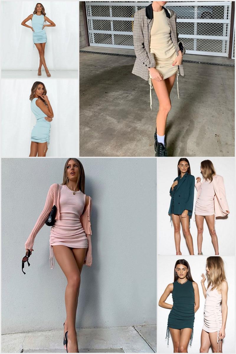 Cotton Ruched Drawstring Sexy Sleeveless Elastic Mini Vintage Bodycon Dress