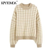 KPYTOMOA Women 2020 Fashion Oversized Jumper Houndstooth Knitted Sweaters Vintage Long Sleeve Loose Female Pullovers Chic Tops