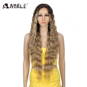Noble Cosplay Synthetic Lace Front Wig 30 Inch Long Wavy Wig Ombre Blonde Wig Synthetic Hair Wig Wigs For WomenLace Front Wig