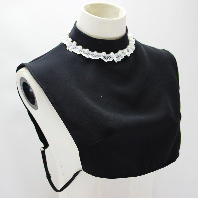 Set Lace High Pearl Stand Dickie Black Decoration Fake Collar Shirt Women New Free Shipping Drop Shpper