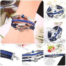 New Women Fashion Metal Wing Artificial Everyday Beauty Leather Weave Bangle Bracelet Wristband Pearl,(China)