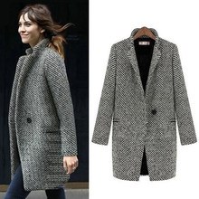 Mode Lange Wollen Vrouwen Jas Vrouwelijke Plus Size Winter Herfst Plaid Jas 2019 Wol Blend Cape Jas Tweed Uitloper 5XL 6XL 7XL(China)