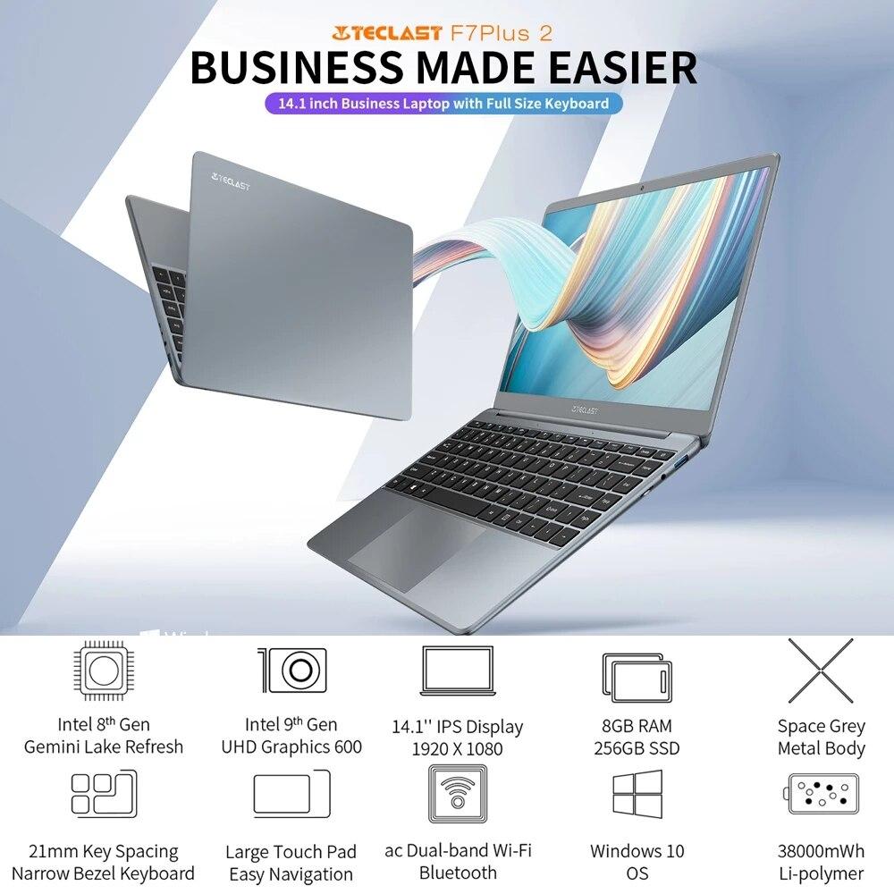 Teclast F7 Plus 2 Laptop 14.1 Inch Notebook Windows 10 1920 x 1080 Intel Gemini Lake N4120 Quad Core 1.1 GHz 8 GB RAM 256 GB SSD 6