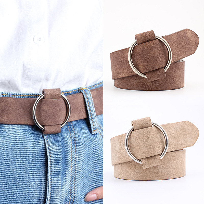 New Women's Leather Belt Circle Round Buckle Female Leisure Jeans Wild Without Pin Metal Buckle Women Strap Belt