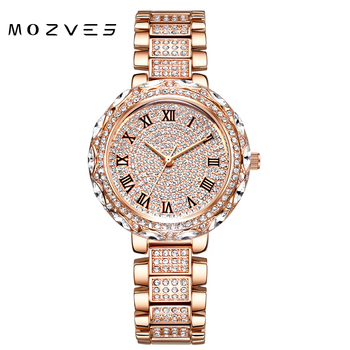MOZVES ladies watch rhinestone luxury woman brands famous 2020 watch for women stylish waterproof  wristwatch with crystal