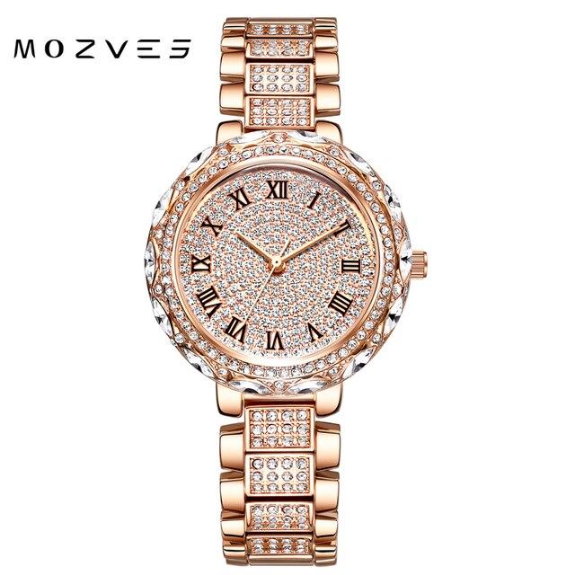MOZVES ladies watch rhinestone luxury woman brands famous 2020 watch for women stylish waterproof  wristwatch with crystal