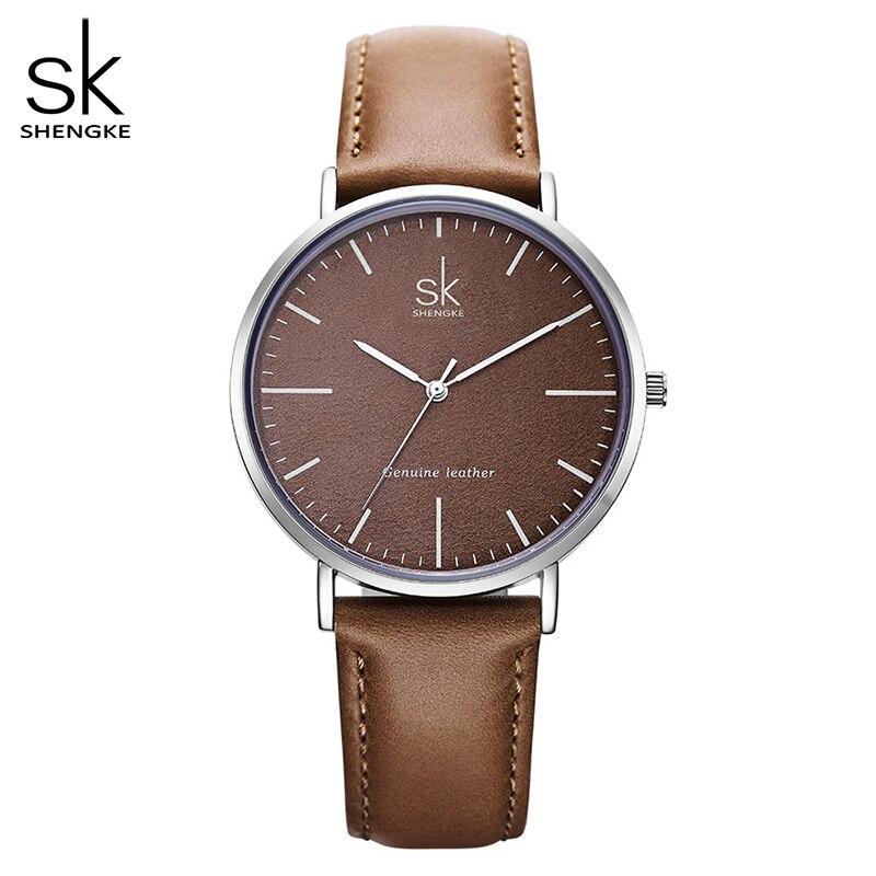 Shengke Genuine Leather Women Watches Leather Surface Quartz Watch Ladies Watches Women Clock Montre Femme Relogio Feminino