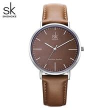 Shengke אמיתי עור נשים שעונים עור משטח קוורץ שעון גבירותיי שעונים נשים שעון Montre Femme Relogio Feminino