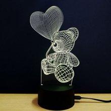 Романтический дизайн сенсорный выключатель настольная лампа светильник 3D акриловый светодиодный Ночной светильник лампа акрил атмосфера светильник для Офис