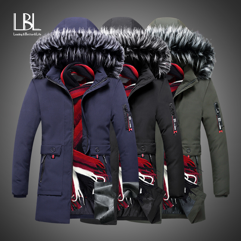 Winter Jacket Men Brand Clothing Fashion Casual Slim Thick Warm Mens Coats Parkas With Fur Hooded Long Overcoats Male Clothes