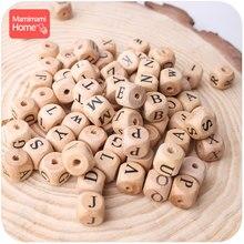Mamihome bebê mordedor de madeira inglês carta grânulos de grau alimentício mordedor de madeira 30 pçs 12mm diy enfermagem colar crianças bens brinquedos