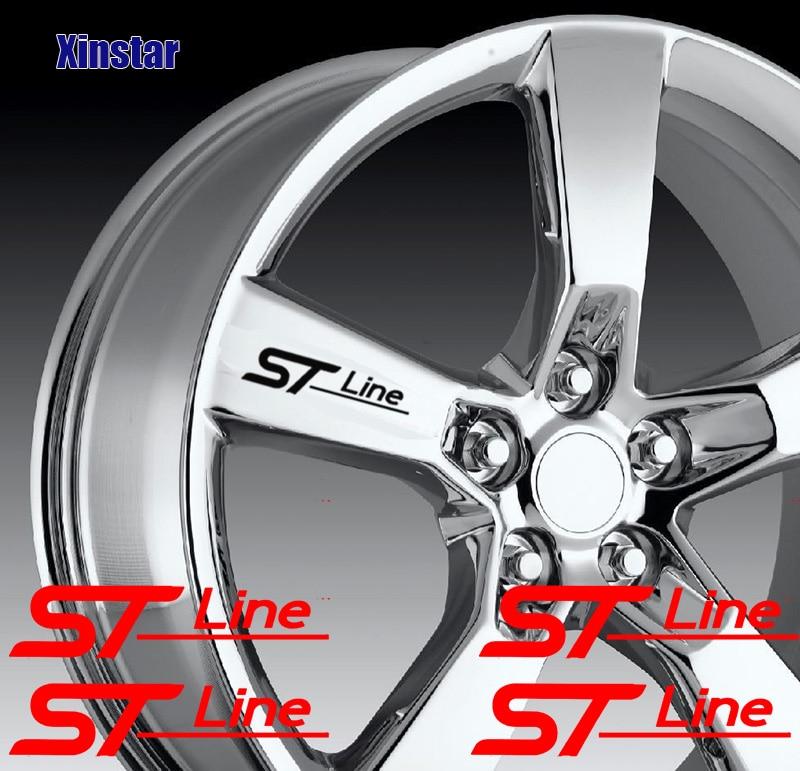 4 шт. ST STLINE автомобильные наклейки на колеса для Ford Fiesta Mondeo Fusion Escape Edge Ecosport Kuga Focus
