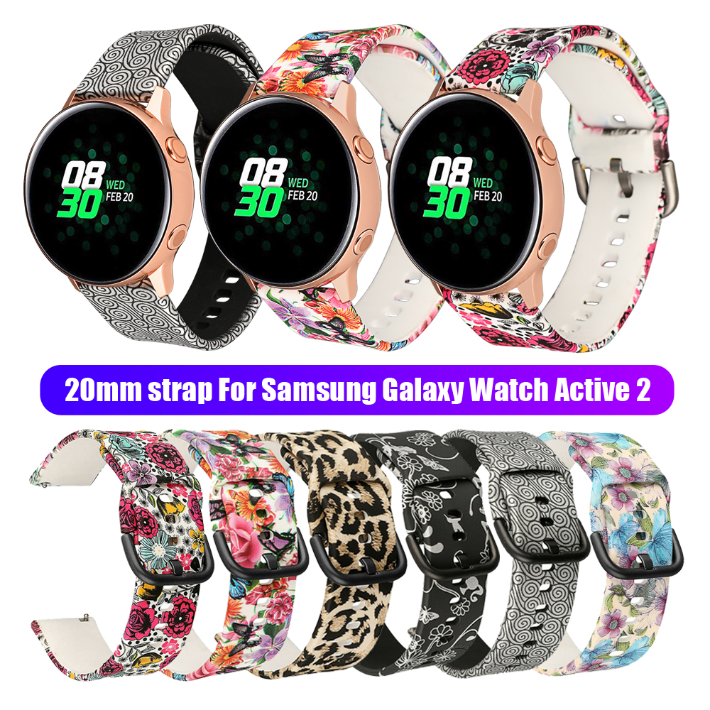 20mm Soft Silicone Flower Printing Replacement Watch Band Strap For Samsung Galaxy Watch Active 2 42mm