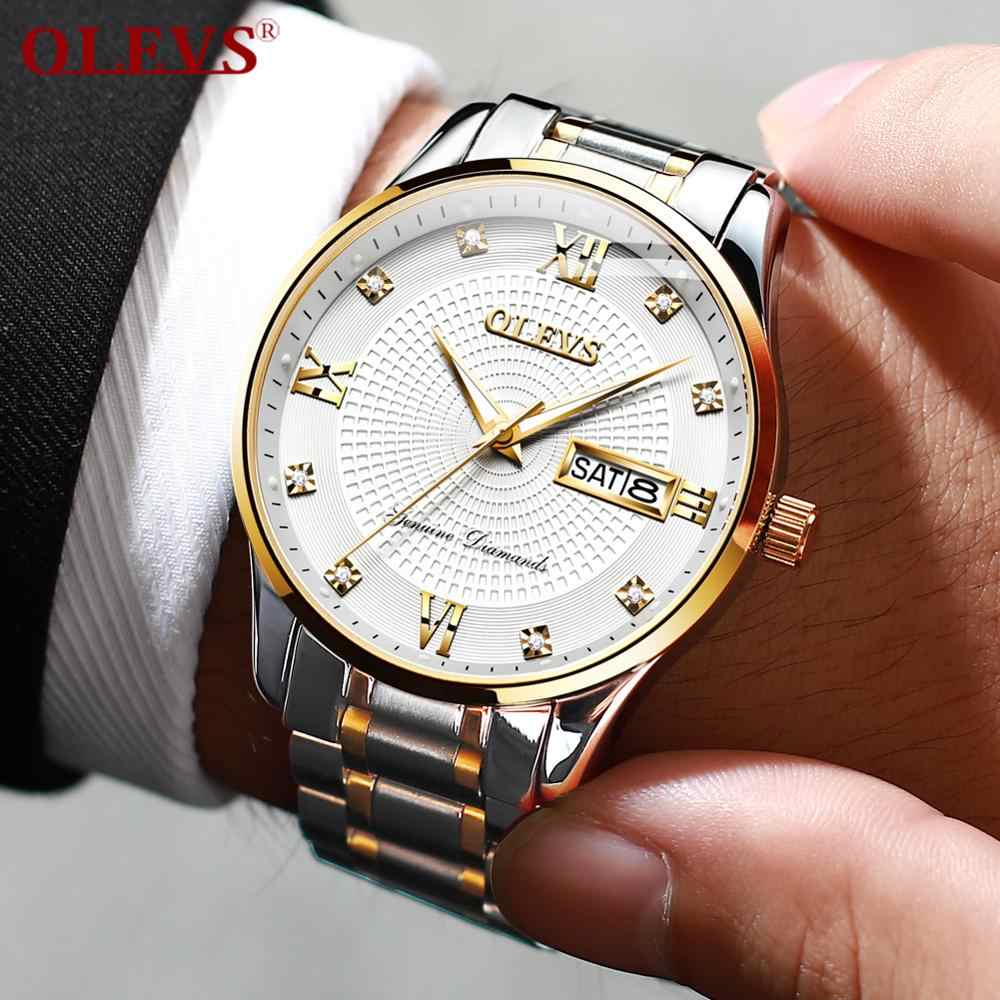 OLEVS Herren Uhren Top Marke Edelstahl Uhr Business Armbanduhr Mechanische Automatische Uhr Luxus Diamant Armbanduhr