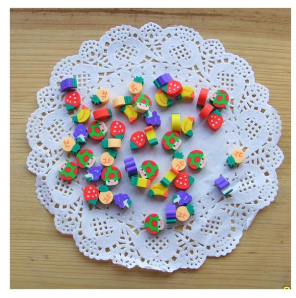 100pcs Cute Gifts Items Fruite Novelty Watermelon Kiwi Mini Rubber Prizes School Supplies Erasers For Kids Stationery