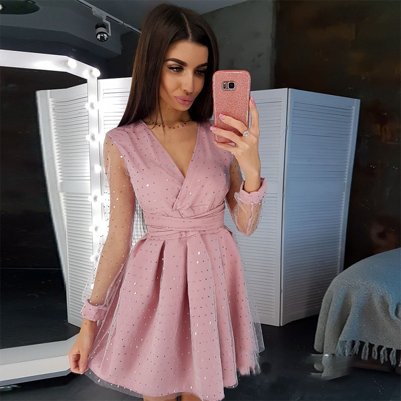 Lace Sexy High Waist A Line Party Dress Ladies Long Sleeve V Neck Mini Summer Dress Patchwork Vintage Shiny 2020