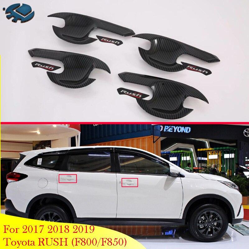 Para 2017 2018 2019 Toyota DO RUSH (F800/F850) acessórios do carro De Fibra De Carbono Estilo Maçaneta Da Porta Bacia Tampa Cup Cavidade Trim