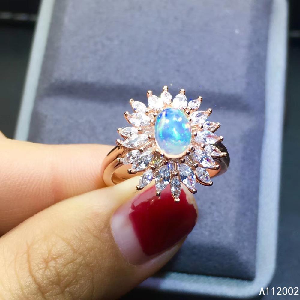 KJJEAXCMY fine jewelry natural opal 925 sterling silver new women gemstone ring support test popular