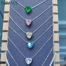 Ожерелье женское из серебра 925 пробы с искусственным муассанитом, сердцем, бриллиантом, аквамарином и изумрудом, бижутерия, подарок на день ...