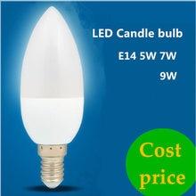 10x led vela luz e14 5w 7 9 220v poupança de energia spotlight frio/branco lâmpada de cristal lustre pingente luz do agregado familiar