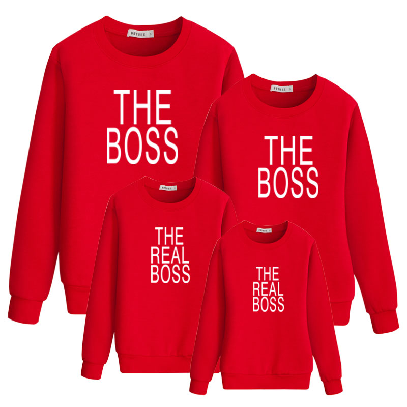 Real Boss Lady Sweatshirt Fmaily Matching Outfits For Daddy Mommy And Me Kids Sweatshirt Cotton Kids Fashion Letter Girl Clothes