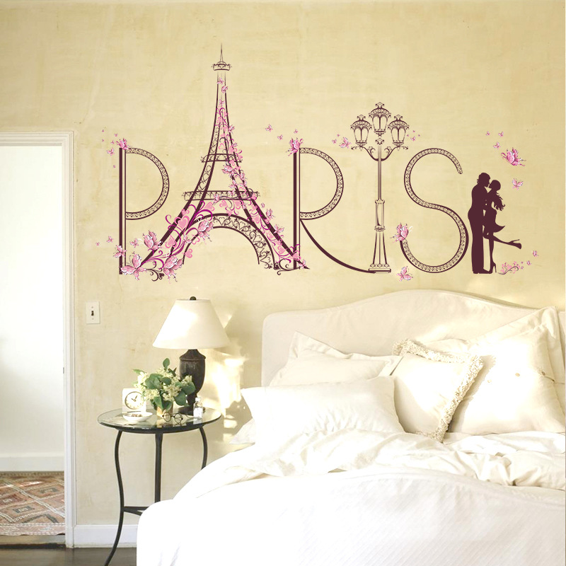 Romantic <font><b>Paris</b></font> Eiffel Tower Bedroom Living Room Decorative Removable Wall Sticker image