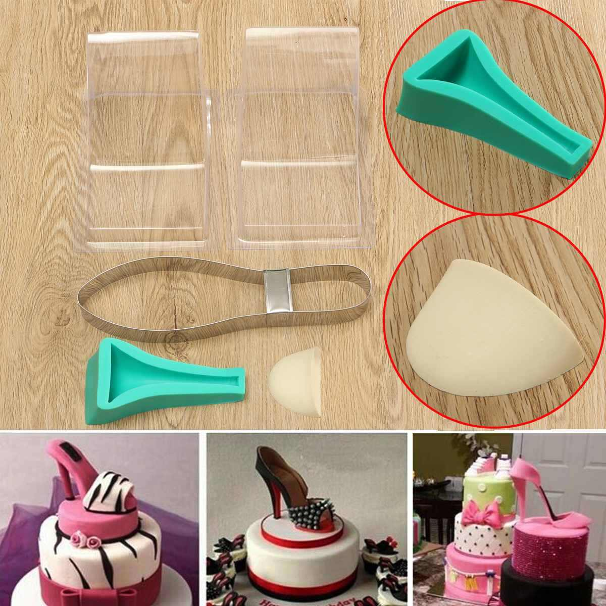 High Heel Shoe Kit Silicone Fondant Cake Mould Decorating Template Mold Wedding Cake Decor DIY Kit