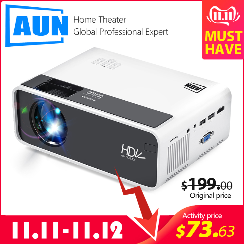 AUN MINI Projector D60S, 1280x720P, Android 6.0 WIFI Bluetooth, LED Proyector for 1080P Home Cinema, Video Beamer, Optional D60-in LCD Projectors from Consumer Electronics