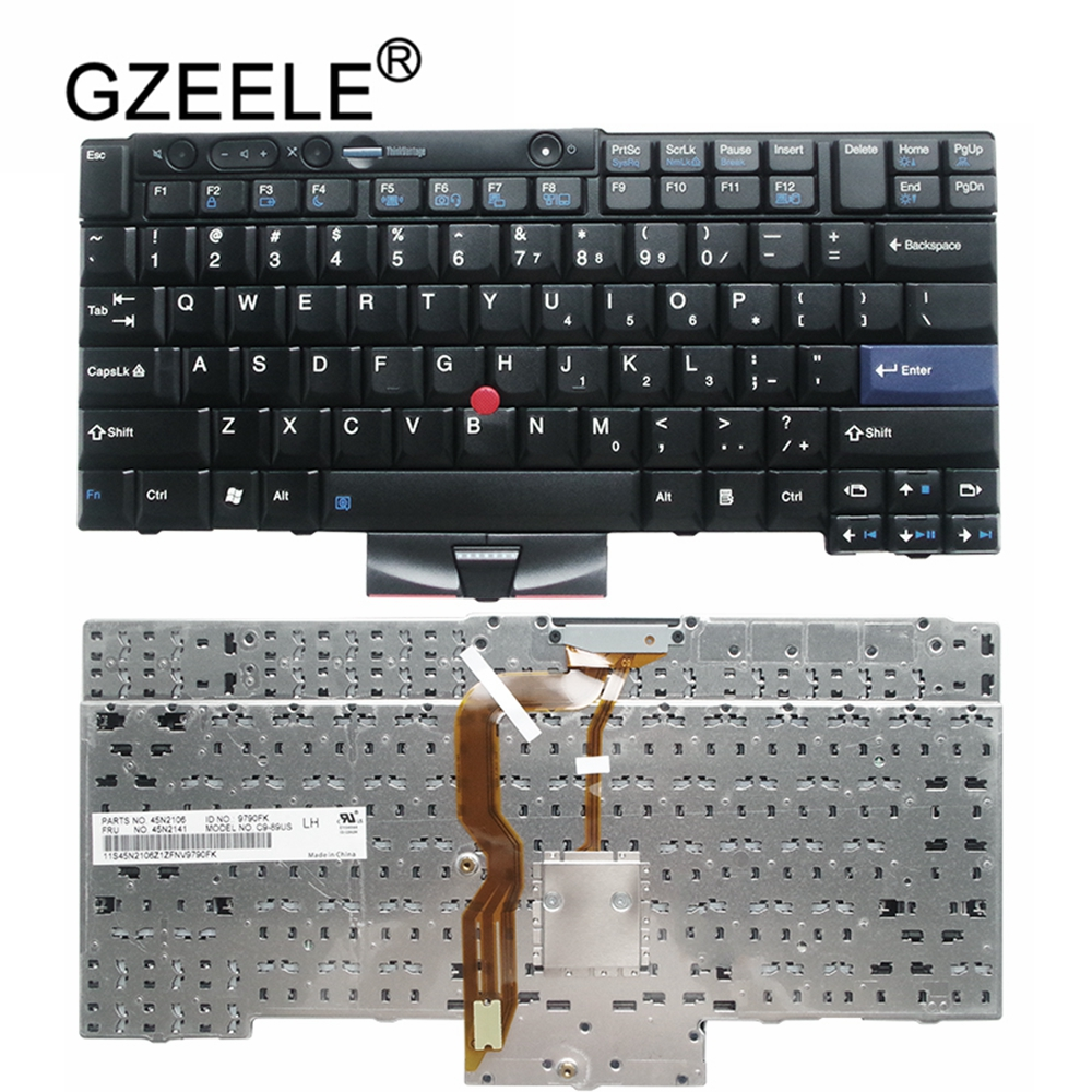 GZEELE English US Keyboard for <font><b>Lenovo</b></font> for thinkpad T410I X220 X220I X220T T510I <font><b>W520</b></font> T420S T520 BLACK With rod image