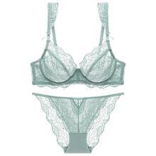 Conjunto de sujetador transparente con Tanga para mujer, lencería con tiras de volantes y lazo transpirable con aros, ropa interior verde menta
