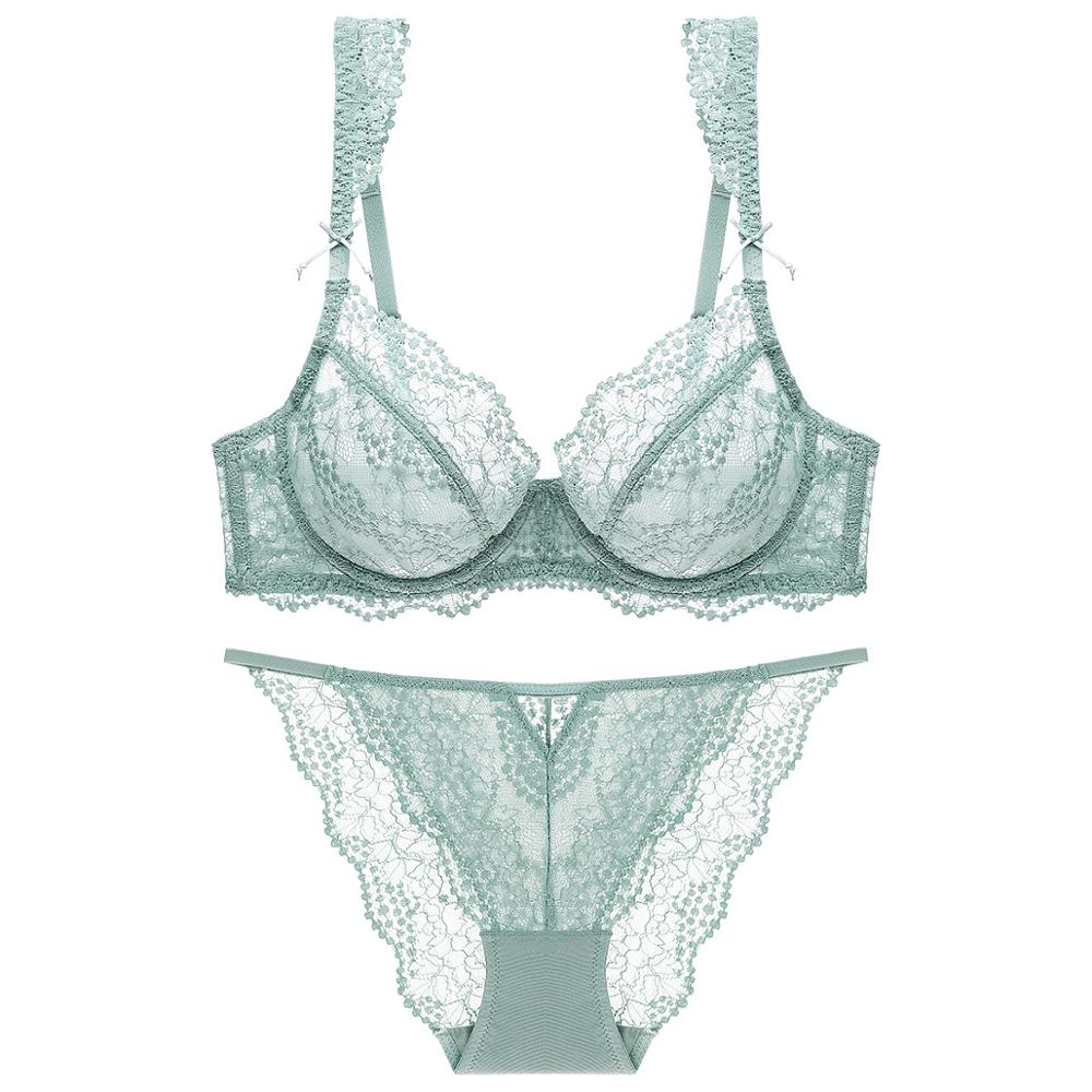 Lingerie Women Sheer Bra Set With Thong Ruffles Straps With Bowknot Breathable Underwired Mint Green Brassiere Women's Underwear