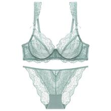 Lingerie Women Sheer Bra Set With Thong Ruffles Straps With Bowknot Breathable Underwired Mint Green Brassiere Womens Underwear