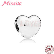 MISSITA 925 Sterling Silver Classic Love Heart Beads fit Brand Charm Bracelet Necklace DIY Jewelry Women Jewelry Accessories vitas pan sterling silver beaded jewelry heart shaped green beads classic finished diy bracelet fashion korean style