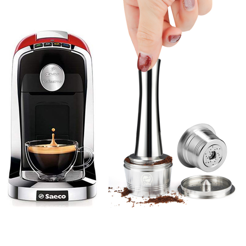 For Caffitaly Tchibo Cafissimo ALDI Expressi Machine Refillable K-fee Coffee Capsule Pod Stainless Steel Coffee Filters & Tamper